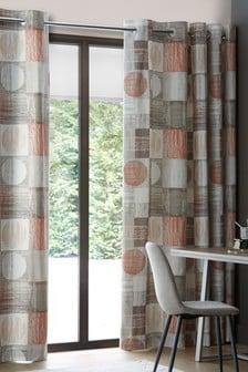 Textured Circles Eyelet Curtains