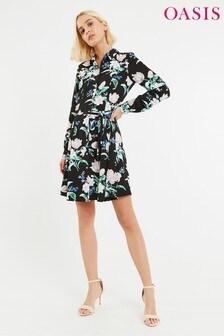 Oasis Petunia geblümtes Hemdblusenkleid, schwarz