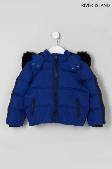 River Island Blue Faux Fur Hooded Padded Jacket