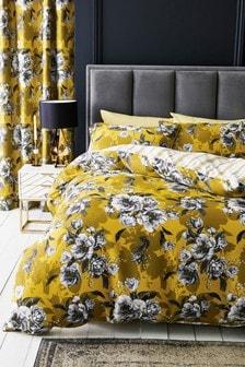 Botanical Ochre Peony Duvet Cover and Pillowcase Set