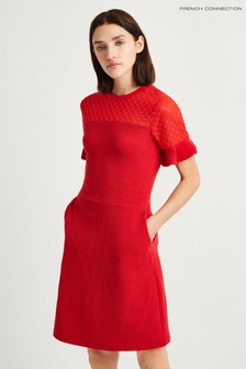 French Connection Red Roesia Texture Jersey Dress