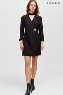 Warehouse Black Gold Disc High Neck Dress