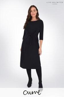 Live Unlimited Curve Black Jersey Tie Waist Dress