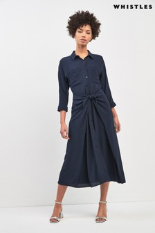 Whistles Navy Selma Tie Dress