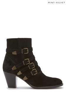 Mint Velvet Black Harriet Multi Buckle Boot