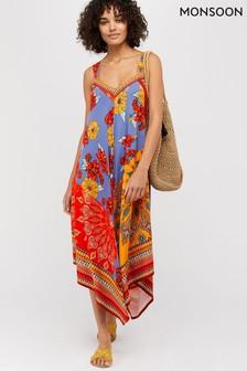 069b572d9ab Monsoon Ladies Orange Jolene Jersey Scarf Print Maxi Dress