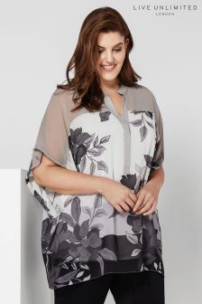 Live Unlimited Grey Colour Block Floral Blouse