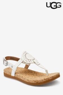 UGG® White Ayden Logo Sandals