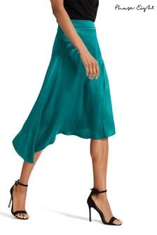 Phase Eight Green Noreen Satin Skirt