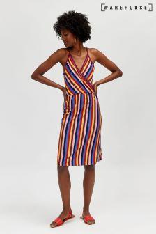 Warehouse Red Rainbow Stripe Cami Wrap Dress