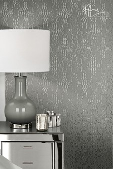 Kylie Cassia Gun Metal Wallpaper