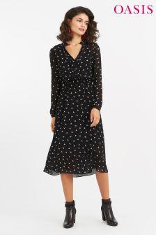 Oasis Black Bird Print Dress