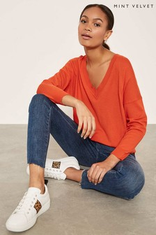 Mint Velvet Orange V-Neck Boxy Knit