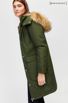 Warehouse Green Clean Pocket Detail Parka