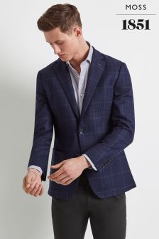 Moss 1851 Tailored Blue/Green Prince Of Wales Check Jacket