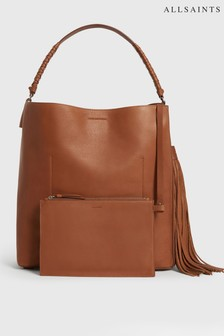 AllSaints Tan Leather Multiway Backpack Hobo Bag