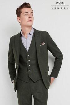 Moss London Skinny Fit Khaki Donegal Jacket