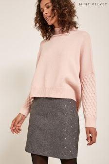 Mint Velvet Grey Pencil Skirt
