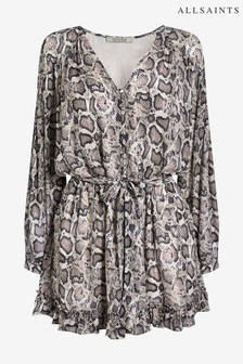All Saints Snake Print Kaylee Playsuit