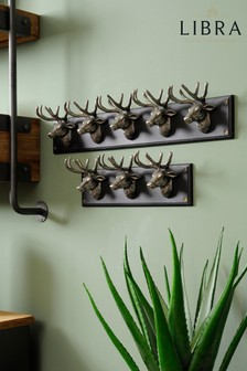Libra Buckden Silver Stag 5 Wall Hooks
