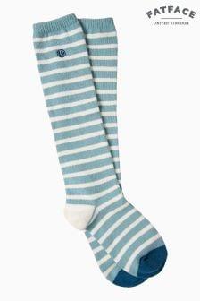 FatFace Green Knee High Stripe Socks