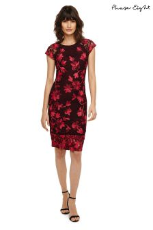 Phase Eight Claret Crissy Tapework Dress