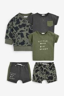 5 Piece Organic Cotton Sweatshirt, T-Shirt And Short Set (0mths-2yrs)