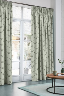 Edinburgh Weavers Pheasant Print Pencil Pleat Curtains