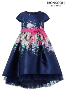 Monsoon Navy Idalia Rose High Low Dress