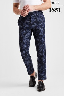Moss London Skinny Fit Blue Floral Check Trouser