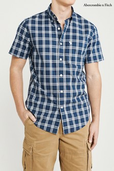 Abercrombie & Fitch Blue Short Sleeve Oxford Shirt