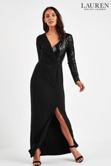 Lauren Ralph Lauren® Black Bellamy Sequin Detail Wrap Dress