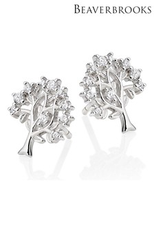 Beaverbrooks Silver Cubic Zirconia Tree Stud Earrings