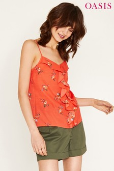 Oasis Orange Provence Bouquet Frill Front Cami