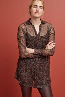 Удлиненная рубашка с сеткой