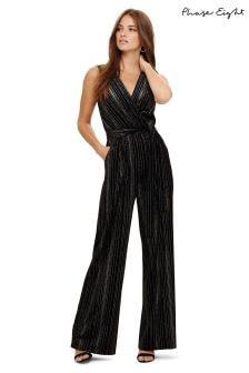 Phase Eight Black Lacy Velvet Jumpsuit