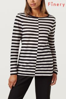 Finery Black And White Elin Cotton Striped Top