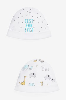2 Pack Multi Character/Slogan Beanie Hats (0-12mths)