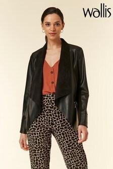Wallis Black Faux Leather Waterfall Jacket