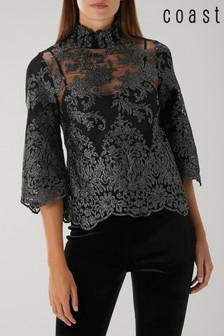Coast Black Aria Lace Blouse