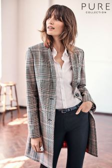 Pure Collection Heritage Check Single Breasted Coat