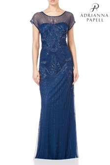 Adrianna Papell Blue Long Beaded Dress