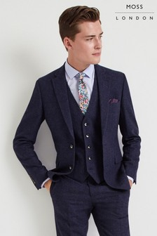 Moss London Skinny Fit Blue Donegal Jacket