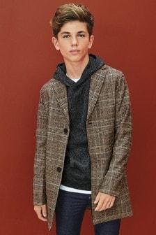 Check Wool Blend Epsom Coat (3-16yrs)