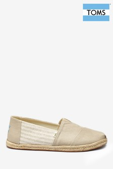 TOMS Grey Striped Espadrille