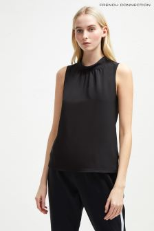 French Connection Black Crepe Light Jersey Sleeveless Top