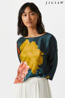 Jigsaw Green Peony Silk Front Batwing
