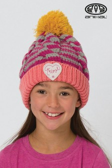 Animal Pink Striped Hand Knit Gretel Bobble Beanie