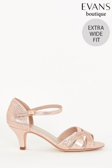 Evans Cream Extra Wide Fit Embellished Kitten Heels