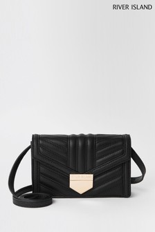 River Island Black Mini Quilt Boxy Cross Body Bag